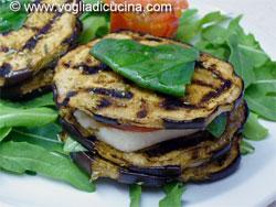 Grilled aubergine millefeuille