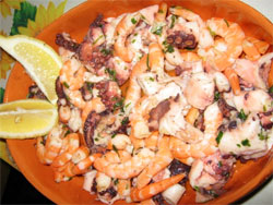 Octopus and shrimp salad