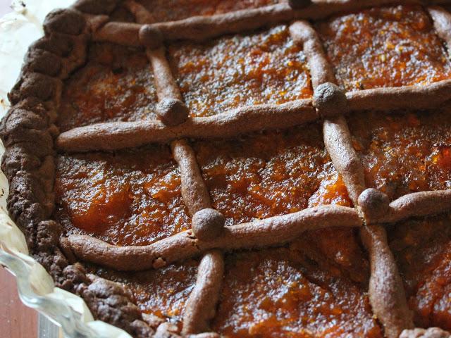 Crostata di castagne e marmellata di zucca e lavanda